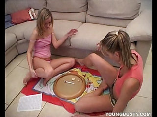 Hot busty lesbian gets her slit toyed