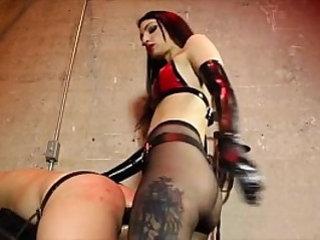 Mistress fucking with big black dildo