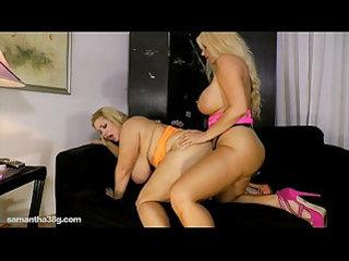 Busty blonde karen fucks fat ass samantha with strap