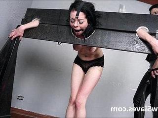 Merciless brazilian bdsm and lesbian whipping of 19yo amateur girl Demi in