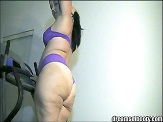 BBW White Girl on Treadmill in Sexy Panties