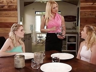 Squirter step sisters double penetrated their mom