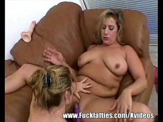 Lesbian Fatty With Slim Girl Tries Dildos