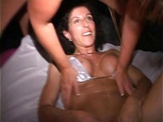 Orgy MILF w red head cunt hair Sucks cock and fucks at EXXXotica afterparty