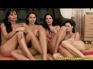 Simony diamond in lesbian group eating pussy